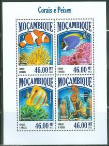 MOZAMBIQUE 2013 FISH & CORAL SHEET MINT NH