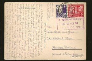 Germany DDR 108 & 10N30 on PM Leipzig 1952 to Canada Postcard Used