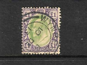 TRANSVAL  1903  1pound  KEVII  FU SG 258
