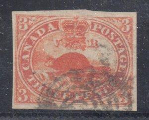Canada Used #4ii XF Orange RED shade -- Beaver Imperforated