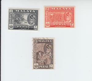 1957-61 Malaya Perak Scenics (Scott 127-8, 132) MH & Used