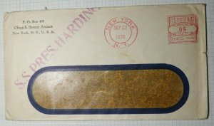 US SS President Harding Postal Marking 1939 Metered Mail Postage Cover NYC NY