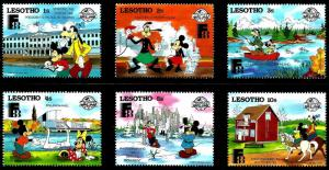 Lesotho 1988 Disney Visit Finland Expo Architecture Monument Places Stamps (36)
