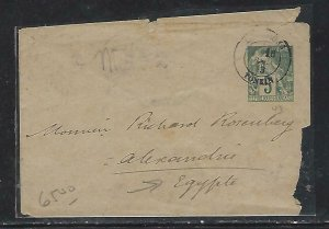 FRENCH INDOCHINA  (PP3008B) 1893  5 PSE   COVER TONKIN TO SUEZ, EGYPT BACKSTAMP