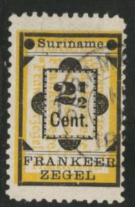 Suriname Scott 22 used 1892 stamp hinge thin