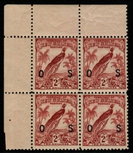 NEW GUINEA SGO53 1932 2/= DULL LAKE MNH BLOCK OF 4