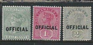 JAMAICA OFFICIAL 1890-91 SET OF THREE MM SG O3/O5 CAT £45
