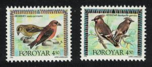 Faroe Is. Waxwing Crossbill Birds 2v issue 1996 SG#292-293 MI#298-299 SC#301a