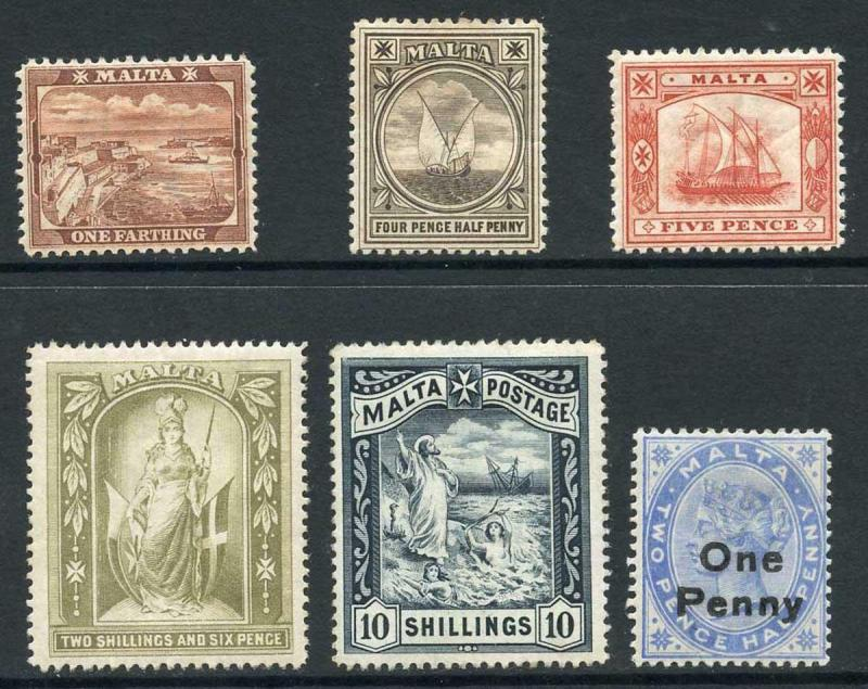 Malta SG31/35 1899-1901 QV Set of 5 with extra 1d on 2 1/2d Dull Blue P14 M/M