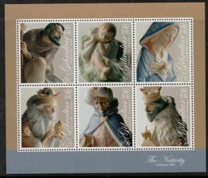 GIBRALTAR SGMS1247  2007 CHRISTMAS SHEETLET  MNH