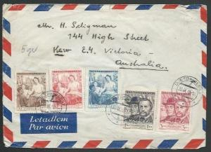 CZECHOSLOVAKIA 1948 airmail cover to Australia - nice franking.............61542