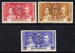 Montserrat 1937 KG6 Coronation set of 3 perf'd SPECIMEN f...