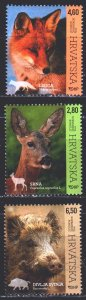 Croatia. 2015. 1172-74. Fox, wild boar, roe deer, fauna of Croatia. MVLH.