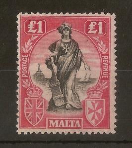 Malta 1922 £1 SG139 Mint Cat£150