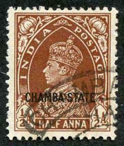 CHAMBA STATE SG83 KGVI 1/2a red-brown Fine Used (genuine postmark)