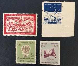 Nepal, 1959 sc#120,1965 Sc#180,181, 1958 Sc#C1