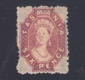 Tasmania Sc 32 MLH. 1864-91 6p red lilac Queen Victoria, scarce & F-VF