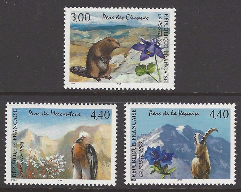 France 1996 Animals National Parks VF MNH (2514-16)