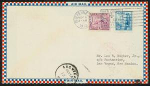 1933 AIR MAIL COVER CHETENNE, WY TO LAS VEGAS, NM - NICE FRANKING  (ESP#1571)