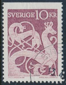 Sweden Scott 592 (Fa 528B), 10Kr Rune Stone issue, F-VF Used