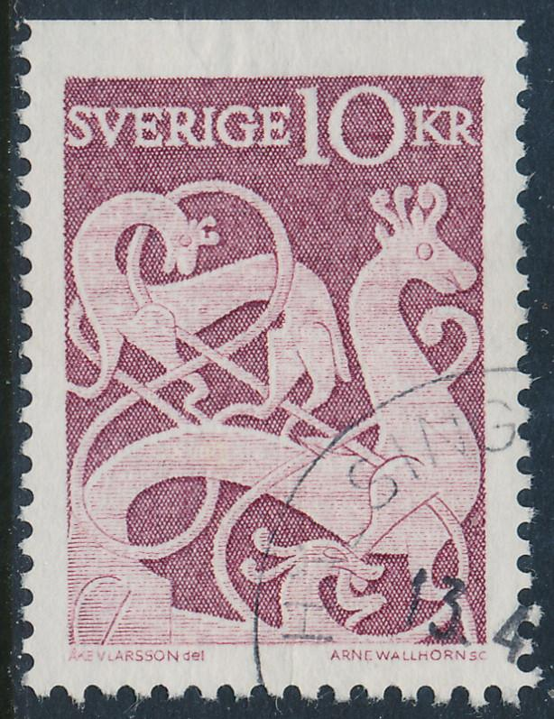 Sweden Scott 592 (Fa 528B), 10Kr Rune Stone issue, F-VF Used