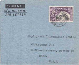 Trinidad 12c Town Hall San Fernando Air Letter c1954 San Fernando, Trinidad A...