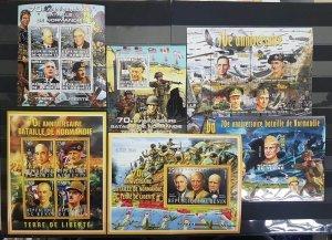 PE 2014 DJIBOUTI BENIN CHAD WORLD WAR II WWII NORMANDY 3KB+3BL MNH