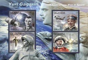 Uganda 2012 SPACE YURI GAGARIN Vostok 1 Sheet Perforated Mint (NH)
