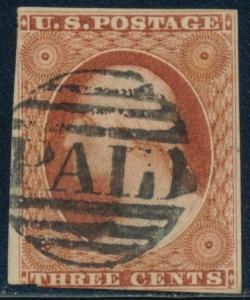 #10A VF USED W/ BLACK SMALL BOSTON PAID CANCEL (FAINT CREASE) CV $165 BQ9043