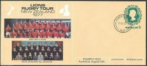 NEW ZEALAND 1977 7c PTPO envelope Lions Rugby Tour : Both teams............44191