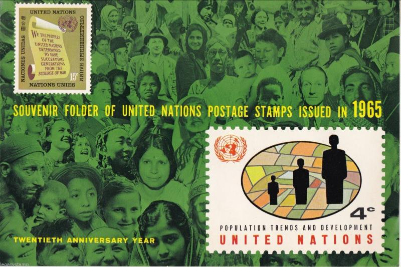 1965 United Nations Souvenir Folder w/ 15 Stamps.