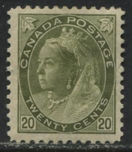 Canada QV 1897 20 cents Numeral mint o.g.