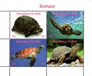 Mali 2014 Turtle Tortoise Reptiles 4v Mint Souvenir Sheet S/S. (#05)