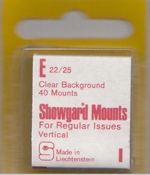 SHOWGARD CLEAR MOUNTS E 22X25 (40) RETAIL PRICE $3.95