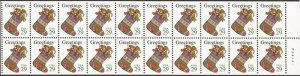 US Stamp - 1994 Christmas Stocking - Never Folded - Pane of 20 Stamps #2872a