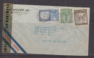 GUATEMALA,1943 censored airmail cover, Guatemala City to USA, 1c., 3c., 15c.
