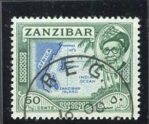 ZANZIBAR;  1957 early Sultan Harub issue fine used 50c. value