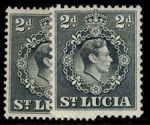 ST. LUCIA GVI SG131 + 131a, 2d PERF VARIEITES, M MINT.