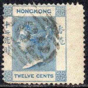 Hong Kong 1863 Sg 12 12c pale greenish blue B62 Duplex Cancellation Good Used