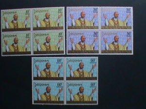 PHILIPPINES-1972-SC#1144-45+C105 1ST ANNIVERSARY-VISIT- POPE PAUL VI- BLOCK