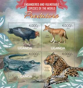 Uganda - Wild Predators - 4 Stamp Sheet - 21D-077