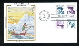Micronesia Regular Postage issue combo Colorano Silk Cachet