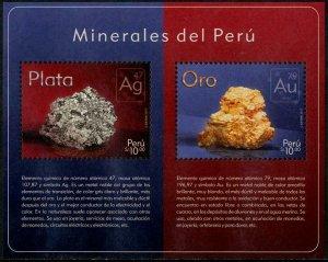 HERRICKSTAMP NEW ISSUES PERU Minerals Souvenir Sheet