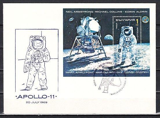 Bulgaria, Scott cat. 3575. Apollo 11 s/sheet. First day cover.