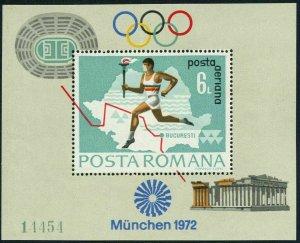 Romania C186-C187 sheets,MNH. Olympics Munich-1972.Torchbearer,map;Soccer.