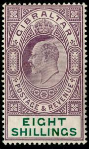 GIBRALTAR SG74, 8s purple & green, LH MINT. Cat £250.