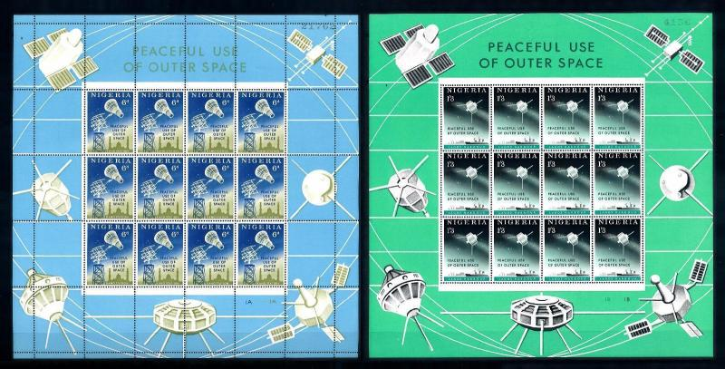 [66434] Nigeria 1963 Space Travel Weltraum 2 Full Sheets MNH
