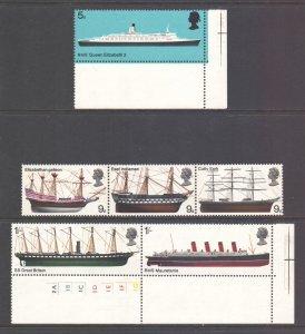 GB Scott 575/580 - SG778/783, 1969 Ships Set MNH**