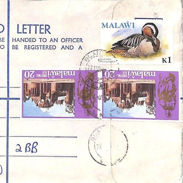 BQ26 World Stationery 1978 MALAWI Blantyre Registered Airmail Cover Note 1k BIRD