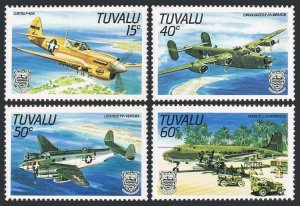 Tuvalu 307-310,MNH.Michel 304-307. World War II Aircraft,1985.Curtiss O-40N,